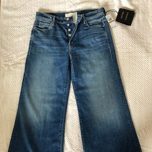 Denim wide leg cropped jeans